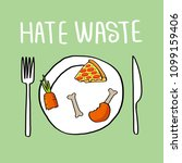 stop wasting food color vector... | Shutterstock .eps vector #1099159406