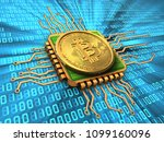 3d illustration of bitcoin over ... | Shutterstock . vector #1099160096