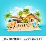 the word summer made of sand on ... | Shutterstock . vector #1099167869