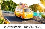 cute little retro car with... | Shutterstock . vector #1099167890