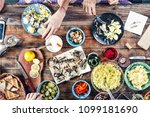 food concept dining table with... | Shutterstock . vector #1099181690