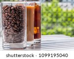 black iced coffee  cold latte ... | Shutterstock . vector #1099195040