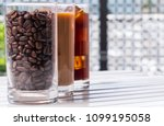 black iced coffee  cold latte ... | Shutterstock . vector #1099195058