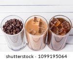 black iced coffee  cold latte ... | Shutterstock . vector #1099195064