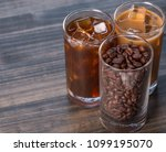 black iced coffee  cold latte ... | Shutterstock . vector #1099195070