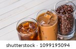 black iced coffee  cold latte ... | Shutterstock . vector #1099195094