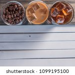 black iced coffee  cold latte ... | Shutterstock . vector #1099195100