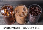 black iced coffee  cold latte ... | Shutterstock . vector #1099195118