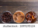 black iced coffee  cold latte ... | Shutterstock . vector #1099195124