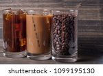 black iced coffee  cold latte ... | Shutterstock . vector #1099195130