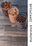 black iced coffee  cold latte ... | Shutterstock . vector #1099195148