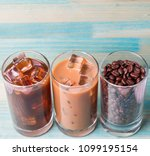 black iced coffee  cold latte ... | Shutterstock . vector #1099195154
