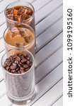 black iced coffee  cold latte ... | Shutterstock . vector #1099195160