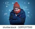 young hipster frozen boy with... | Shutterstock . vector #1099197500