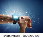 close up female hand with... | Shutterstock . vector #1099202429