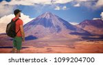 beautiful view on the volcano... | Shutterstock . vector #1099204700
