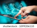 hand working with cloud... | Shutterstock . vector #1099206110