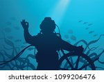diver with ship's steering...   Shutterstock .eps vector #1099206476