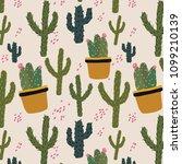 cute seamless cacti pattern.... | Shutterstock .eps vector #1099210139