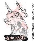 Mini Pig With Unicorn Horn....