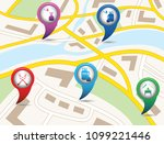 set of tourism services map... | Shutterstock .eps vector #1099221446