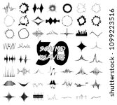 50 sound wave audio icons set.... | Shutterstock . vector #1099223516