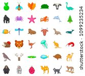 fauna icons set. cartoon style... | Shutterstock . vector #1099235234