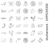 fauna icons set. outline style...   Shutterstock . vector #1099235330