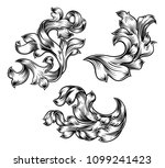 a set of floral filigree... | Shutterstock .eps vector #1099241423