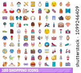 100 shopping icons set in... | Shutterstock . vector #1099246409