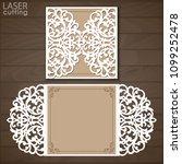 laser cut wedding invitation...   Shutterstock .eps vector #1099252478