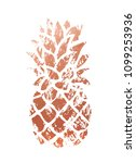 trendy copper pineapple. vector. | Shutterstock .eps vector #1099253936