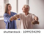 handsome old man is doing... | Shutterstock . vector #1099254290