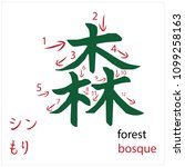 forest. japanese flash card...   Shutterstock .eps vector #1099258163