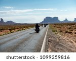bikers riding to monument valley | Shutterstock . vector #1099259816