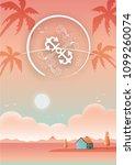 beach sea with villa beautiful... | Shutterstock .eps vector #1099260074