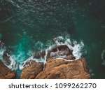 aerial view of ocean waves and... | Shutterstock . vector #1099262270
