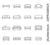 sofa chair room couch icons set.... | Shutterstock .eps vector #1099268414