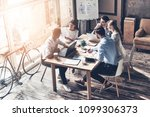 analyzing data. top view of... | Shutterstock . vector #1099306373