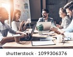 working together. group of... | Shutterstock . vector #1099306376