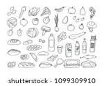 sketches from groceries... | Shutterstock .eps vector #1099309910