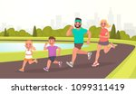 happy family on a jogging.... | Shutterstock .eps vector #1099311419