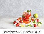 strawberry infused water ... | Shutterstock . vector #1099312076