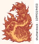 flame. hand drawn engraving.... | Shutterstock .eps vector #1099319453