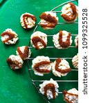 Small photo of Crispy Rice Cracker, nang-led topping with cane sugar drizzle.Thai sweet mini crackers.