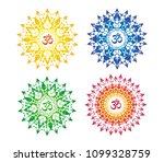mandala with the sign of aum ... | Shutterstock .eps vector #1099328759