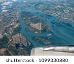 aerial view of detroit river | Shutterstock . vector #1099330880