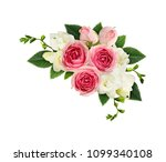 freesia and pink rose flowers...   Shutterstock . vector #1099340108