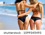 rear view of two young women... | Shutterstock . vector #1099345493