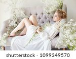 girl white light dress and... | Shutterstock . vector #1099349570